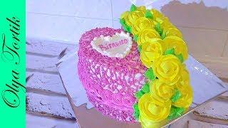 Кремовый торт с цветами Розы из крема Украшение торта кремом /// Olya Tortik Домашний Кондитер