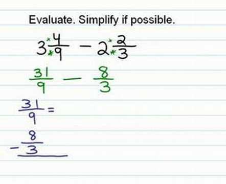 Subtracting Fractions (mixed numbers) - YouTube
