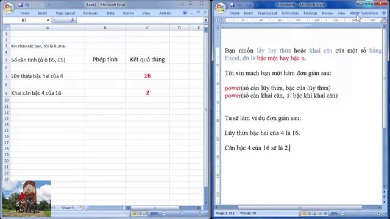 Excel Lũy thừa, khai căn bậc cao