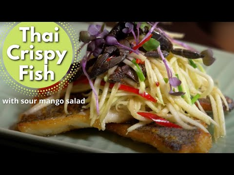 Thai Food Crispy Barramundi With Sour Mango Salad ❤️️