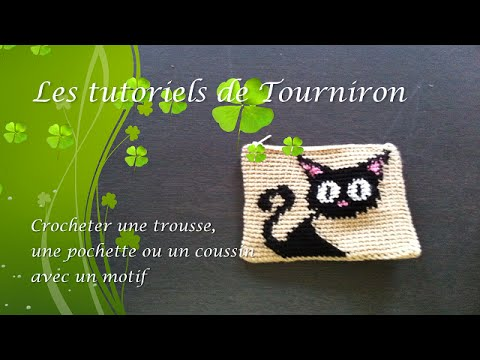 tutoriel crochet comment faire une trousse une pochette ou un coussin avec motif youtube. Black Bedroom Furniture Sets. Home Design Ideas