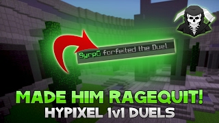 HE LITERALLY RAGE QUITS THE GAME! ( Hypixel 1v1 Duels )