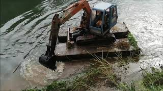Excavator Working in River | Floating Excavator