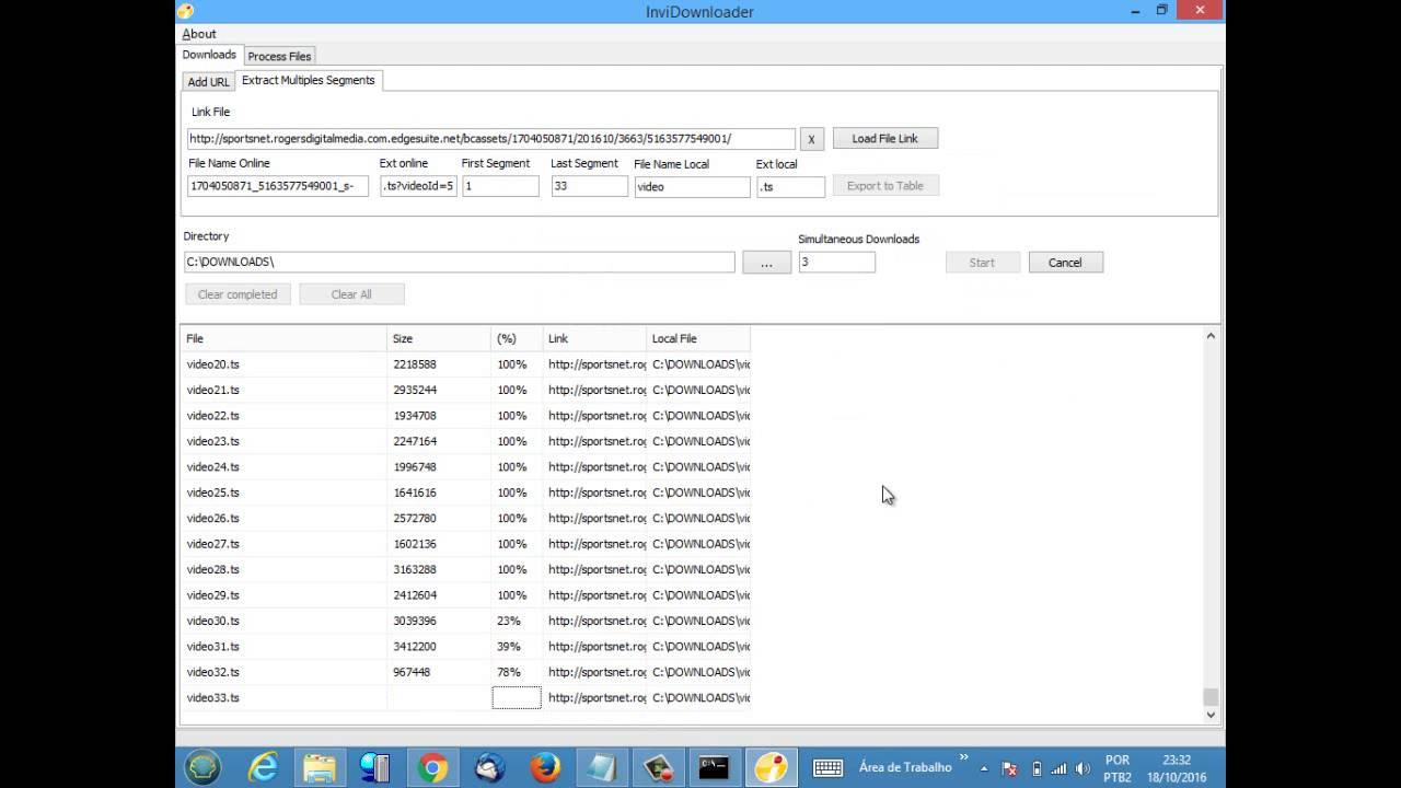 InviDownloader 1 0 0 2 - Example Download TS segmented