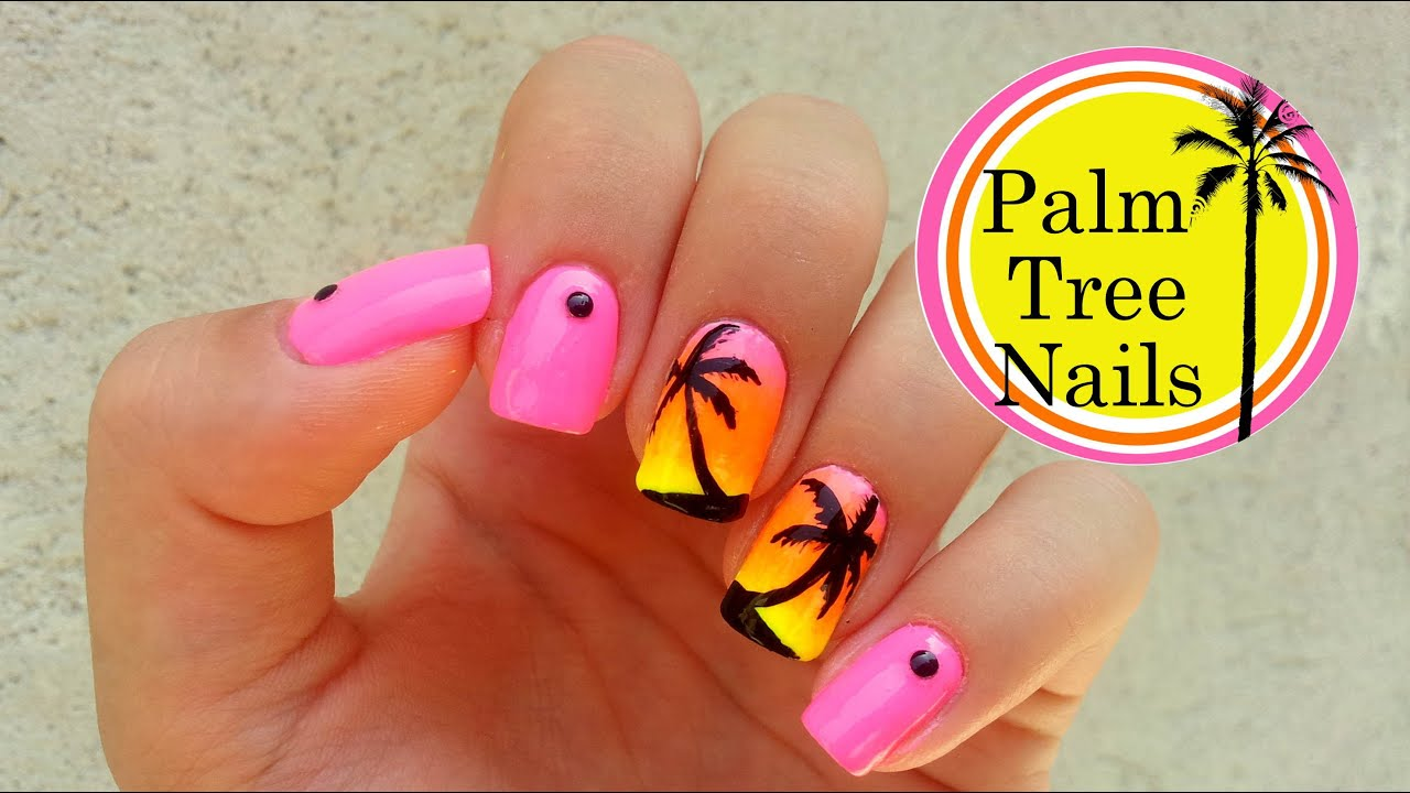 Palm Tree Nail Art Tutorial - YouTube