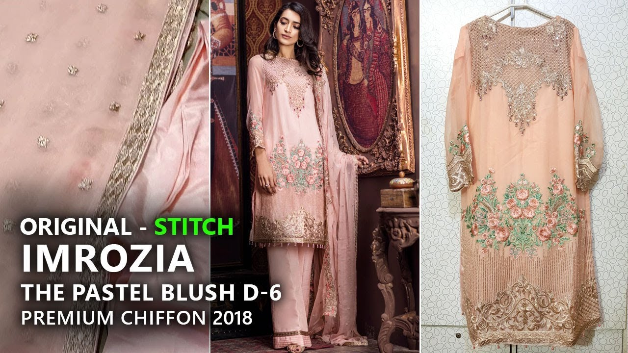 1391530a3f07f Imrozia Chiffon Collection 2018 - Stitched 06 The Pastel Blush - Pakistani  Branded Dresses