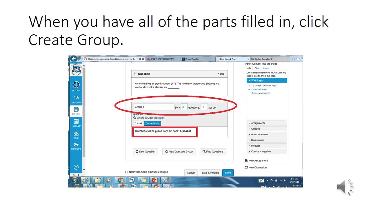 Canvas how to create and use question groups