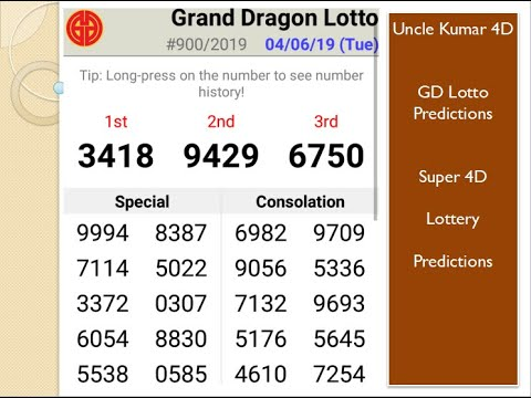GD Lotto (Grand dragon) Lottery 4D prize winner Uncle Kumar prediction, big  money win prizes