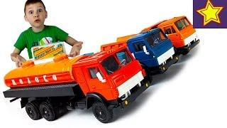 Машинки Игрушки КАМАЗ Самосвал, Молоковоз и Бортовой Обзор моделек Toys for kids