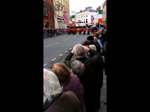 Irish President State Visit to the UK - Guards Marching to line the possession