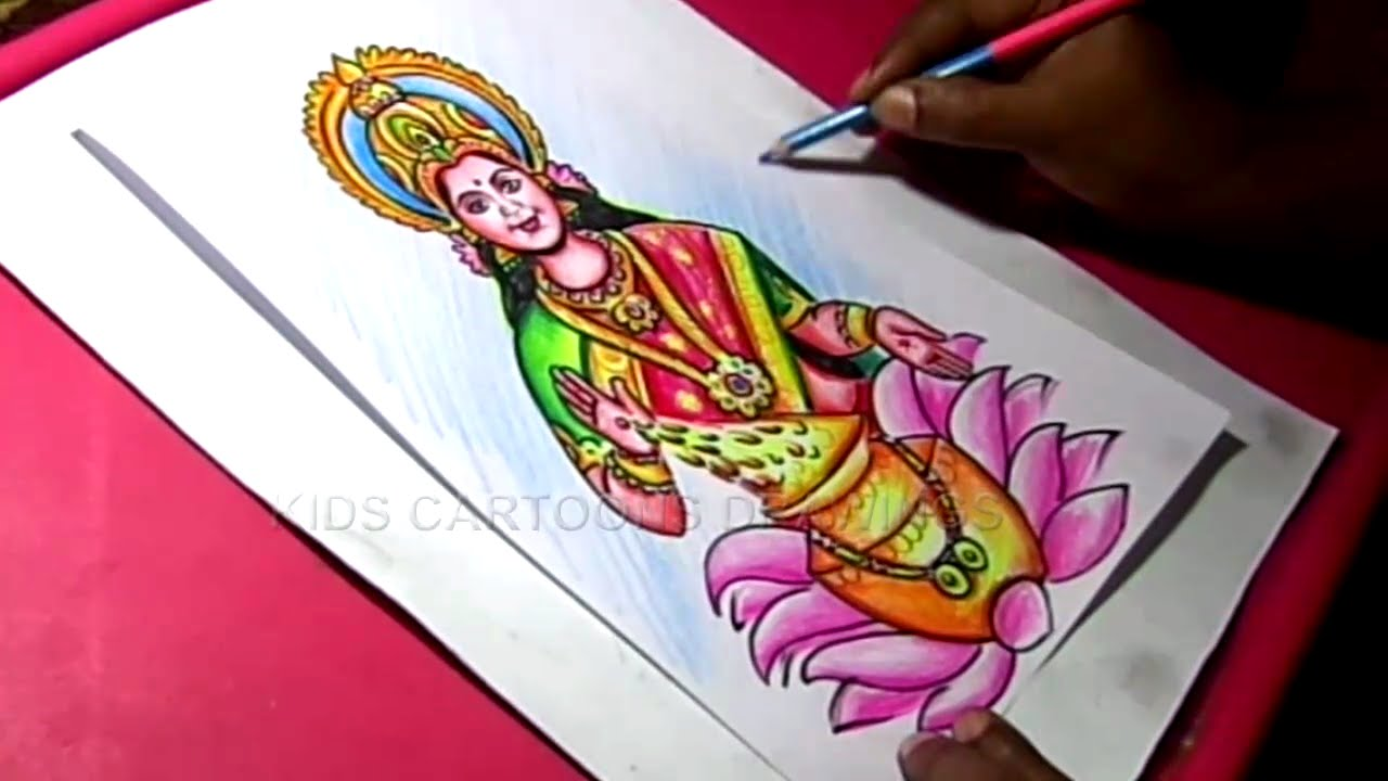How to draw hindu goddess varalakshmi devi speed drawing