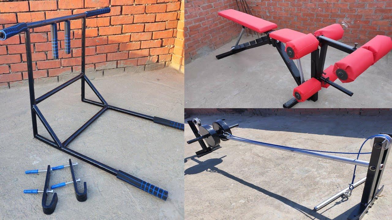 DIY home made gym equipment with least cost كيف تصنع أجهزه الجيم في المنزل