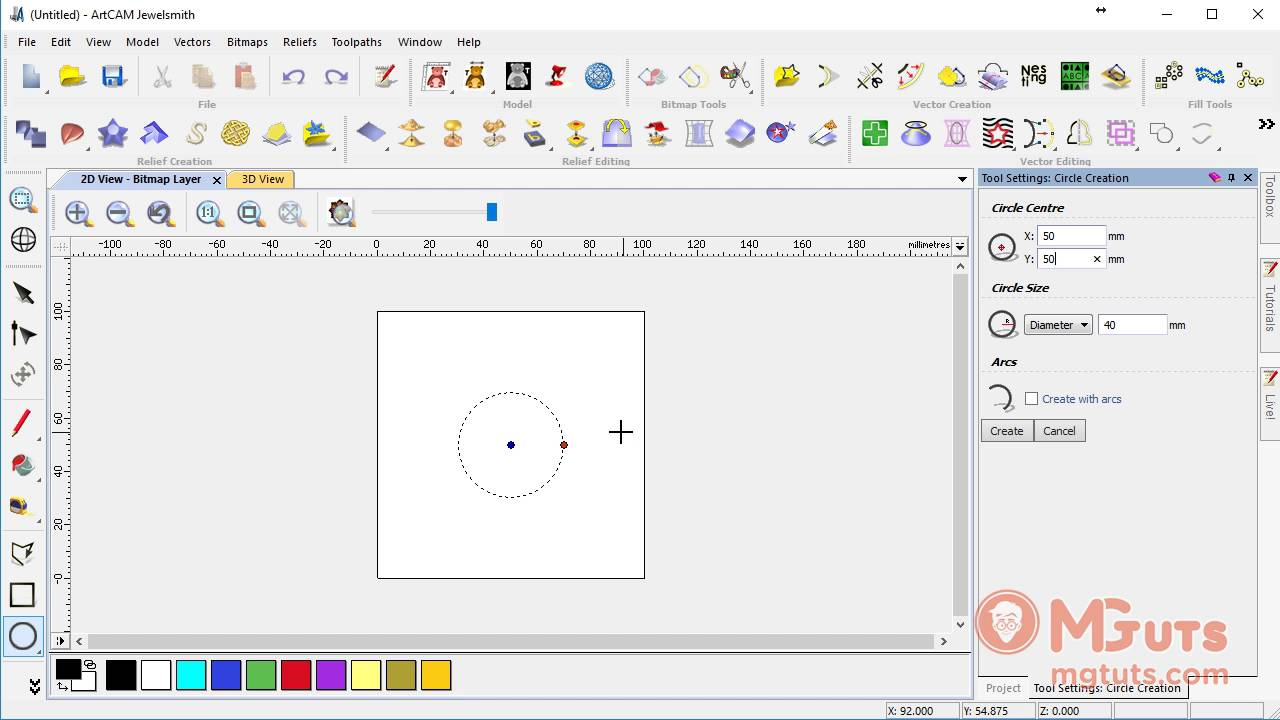How to use ARTCAM circle / ellipse tool - Free Artcam video tutorials