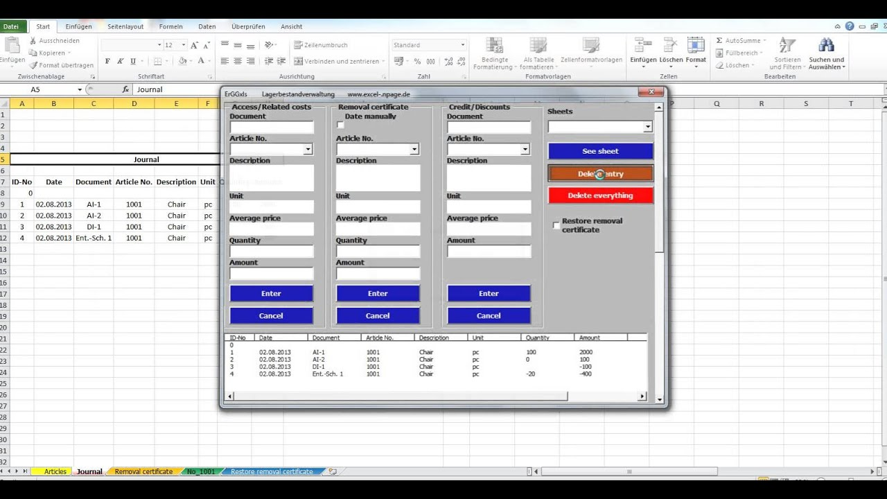 Warehouse inventory management based on an Excel file program 3276 ...