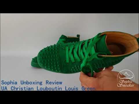 quality design c80d4 499c4 Sophia Sneaker' s Unboxing Review of UA Christian Louboutin Louis Green