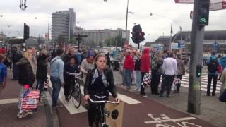 Bicycles traffic jam in Amsterdam, Netherlands