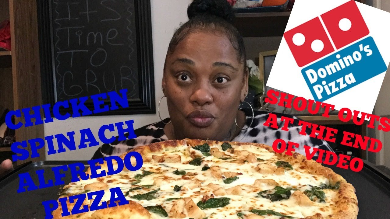 Chicken Spinach Alfredo Pizza Dominoes Mukbang Eating Show Youtube