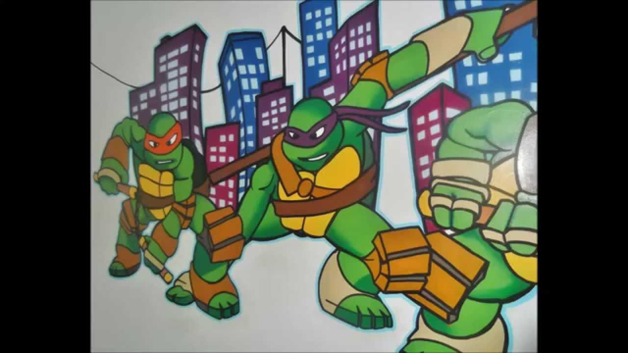 Ninja turtle bedroom - Teenage Mutant Ninja Turtles Mural Painting Time Lapse