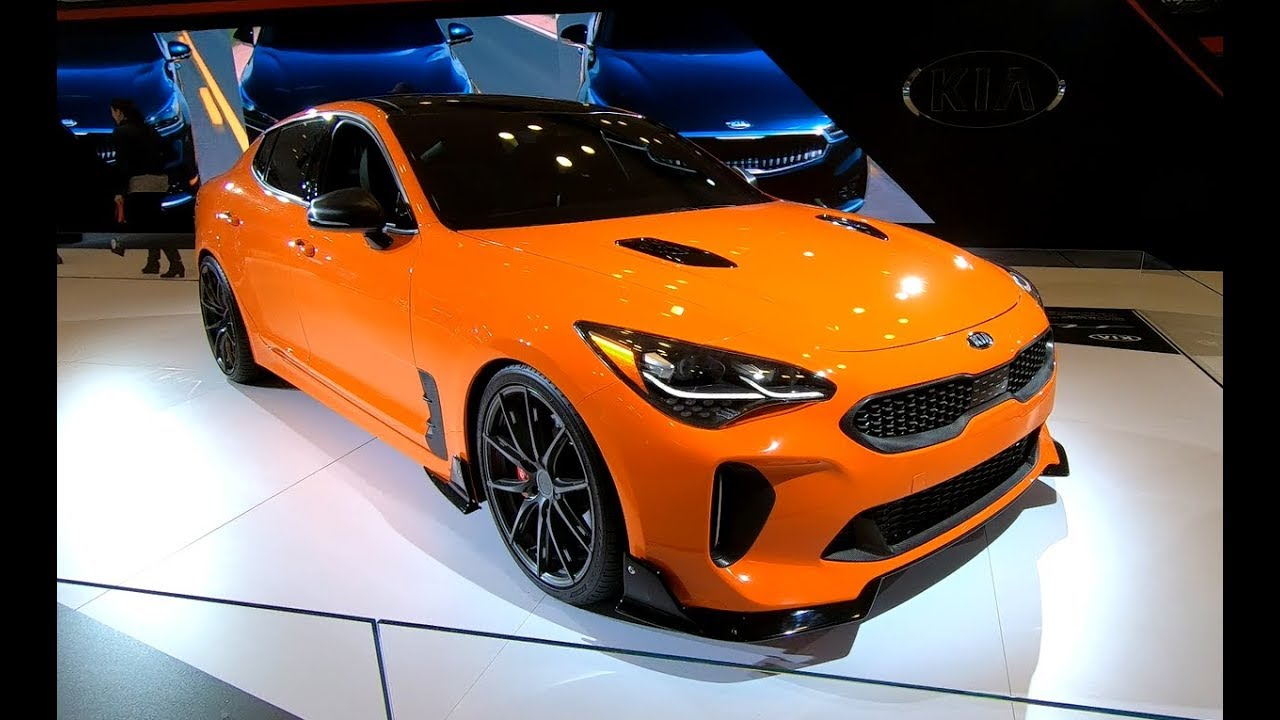 kia stinger gt tuning show car orange blue colour. Black Bedroom Furniture Sets. Home Design Ideas