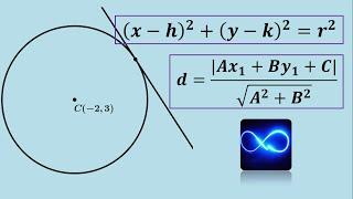 Ecuación de circunferencia tangente a una recta (forma ordinaria y general)