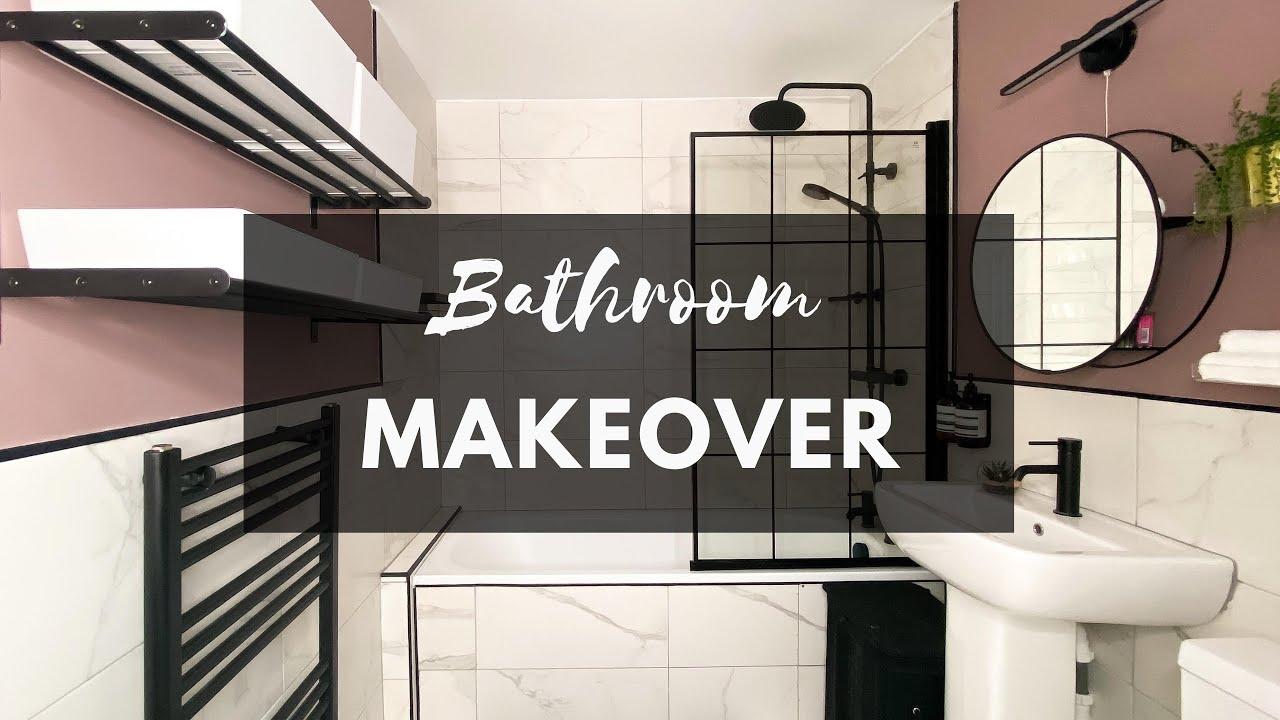 BATHROOM MAKEOVER   DIY BATHROOM RENO ON A BUDGET   BATHROOM BEFORE AND AFTER