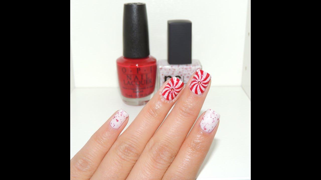 Peppermint Candy Nail Art Amyytran Youtube