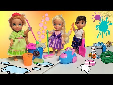 Babysitting Nightmare! Anna and Elsa Toddlers Make a Mess! Princess Lucy & Hans Playing Trouble Toys