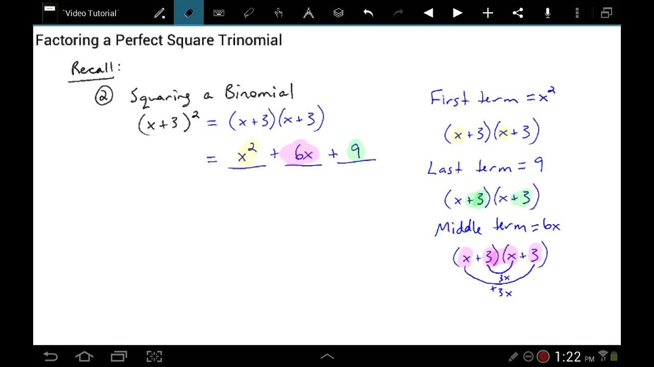 Factoring a Perfect Square Trinomial - YouTube