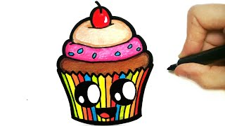 HOW TO DRAW CUPCAKE EASY STEP BY STEP