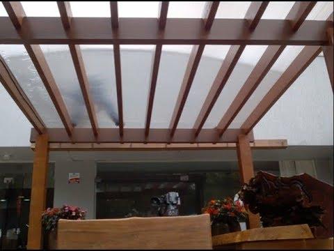 Pergolado de madeira e policarbonato com perfil h de for Perfil u aluminio leroy merlin