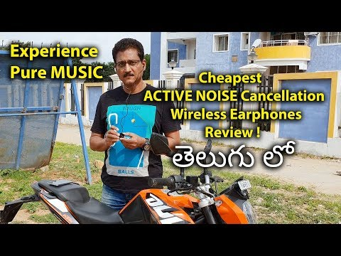 Cheapest ACTIVE NOISE Cancellation Wireless Earphones Review in Telugu