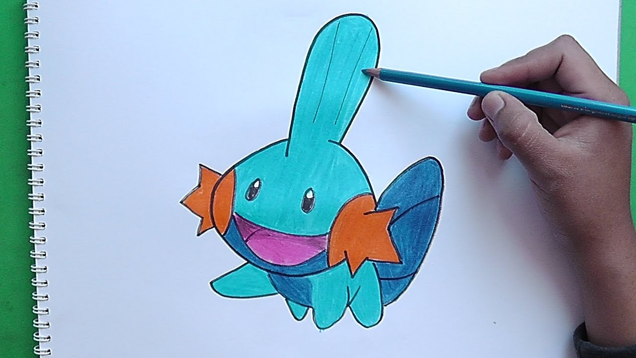 Dibujando Y Pintando A Mudkip Pokemon Drawing And