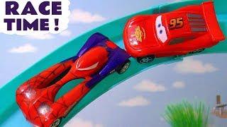 Hot Wheels Superhero Cars And Disney Cars Toys Mcqueen Race Against Each Other Tt4u
