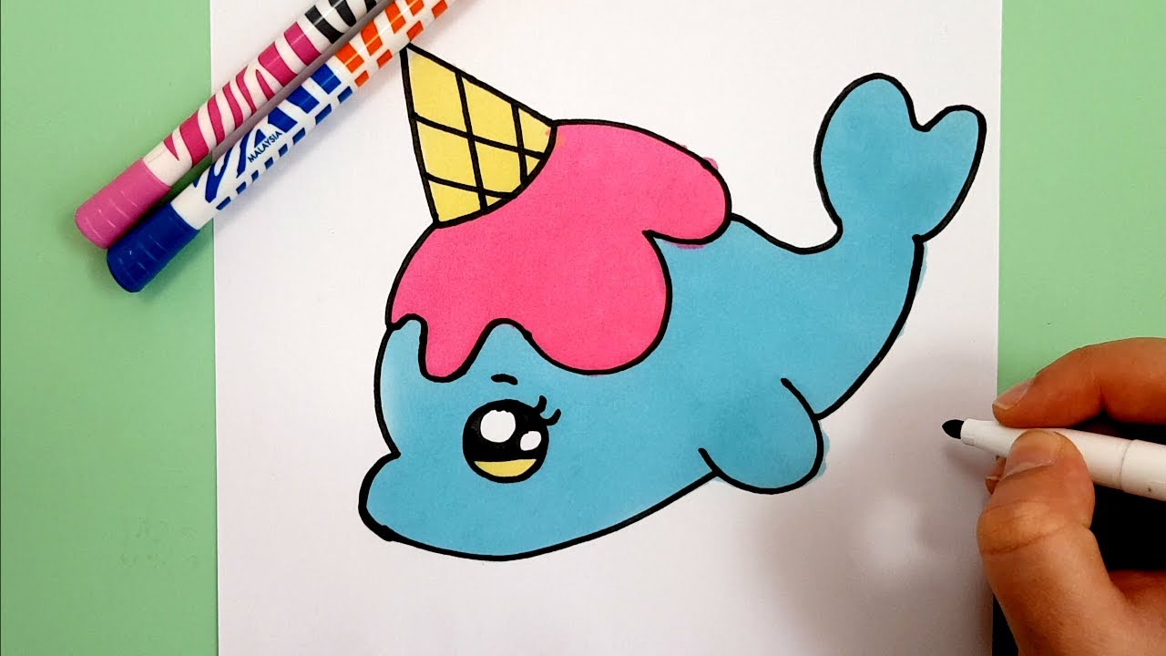 How To Draw A Cute Unicorn Dolphin With A Love Heart Ice Cream