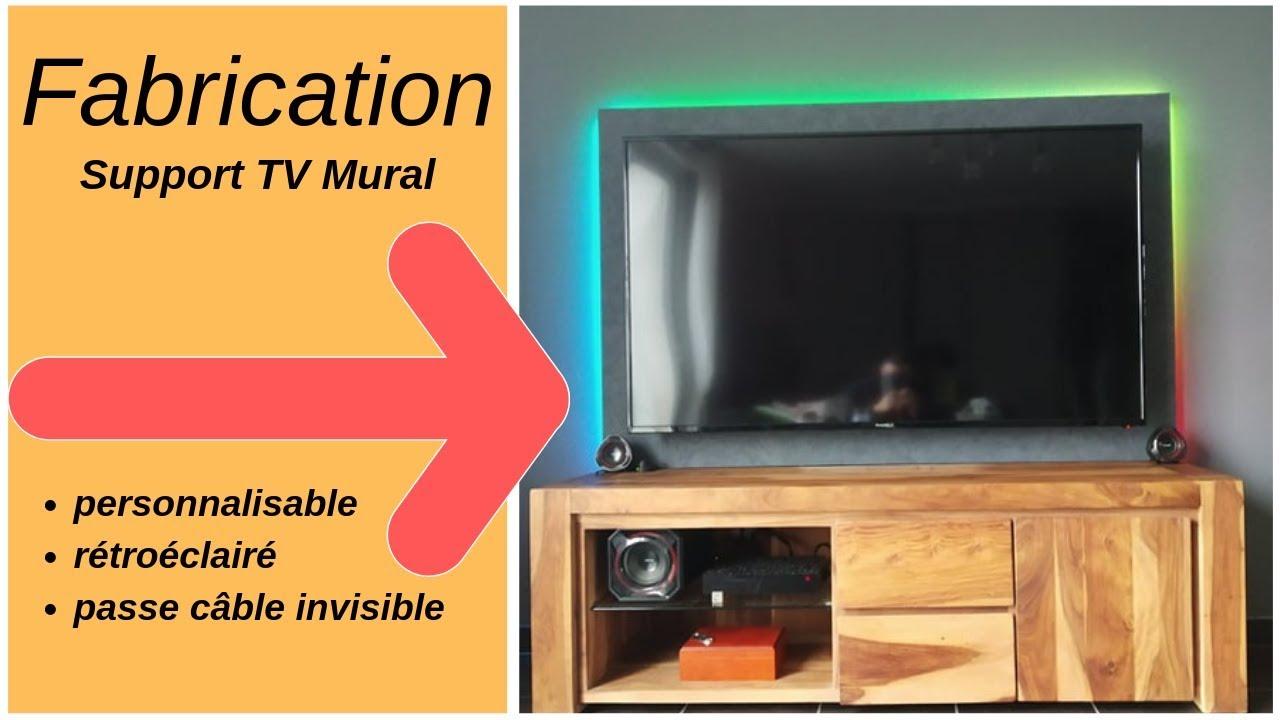 fabrication d un support tv mural personnalisable retroeclaire et passe cable invisible