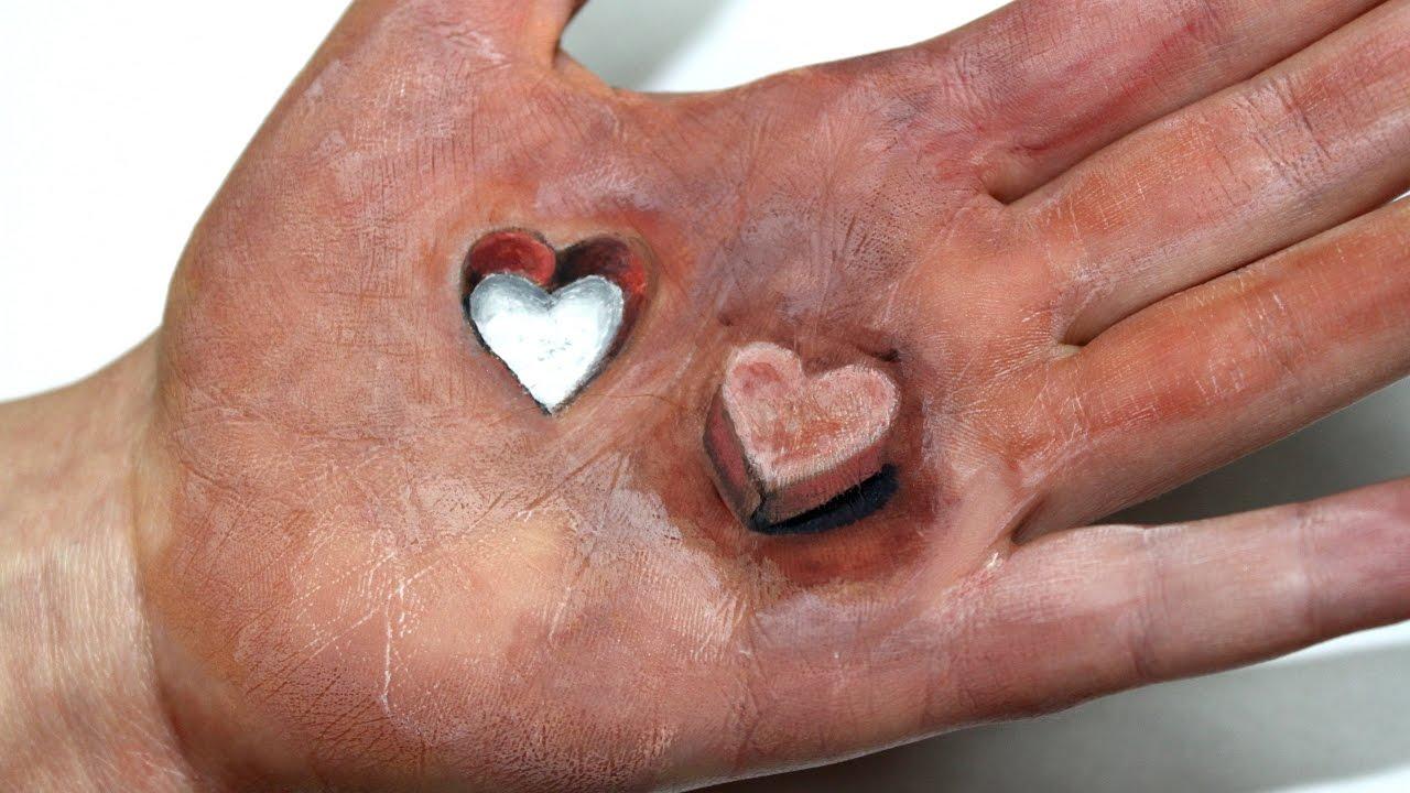 Illusion 3d dessiner un coeur sur la main youtube - Dessin 2 mains ...