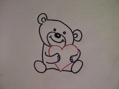 Teddybär zeichnen. Kuschelbär malen. Zeichnen lernen für Anfänger. How to draw Teddy bear