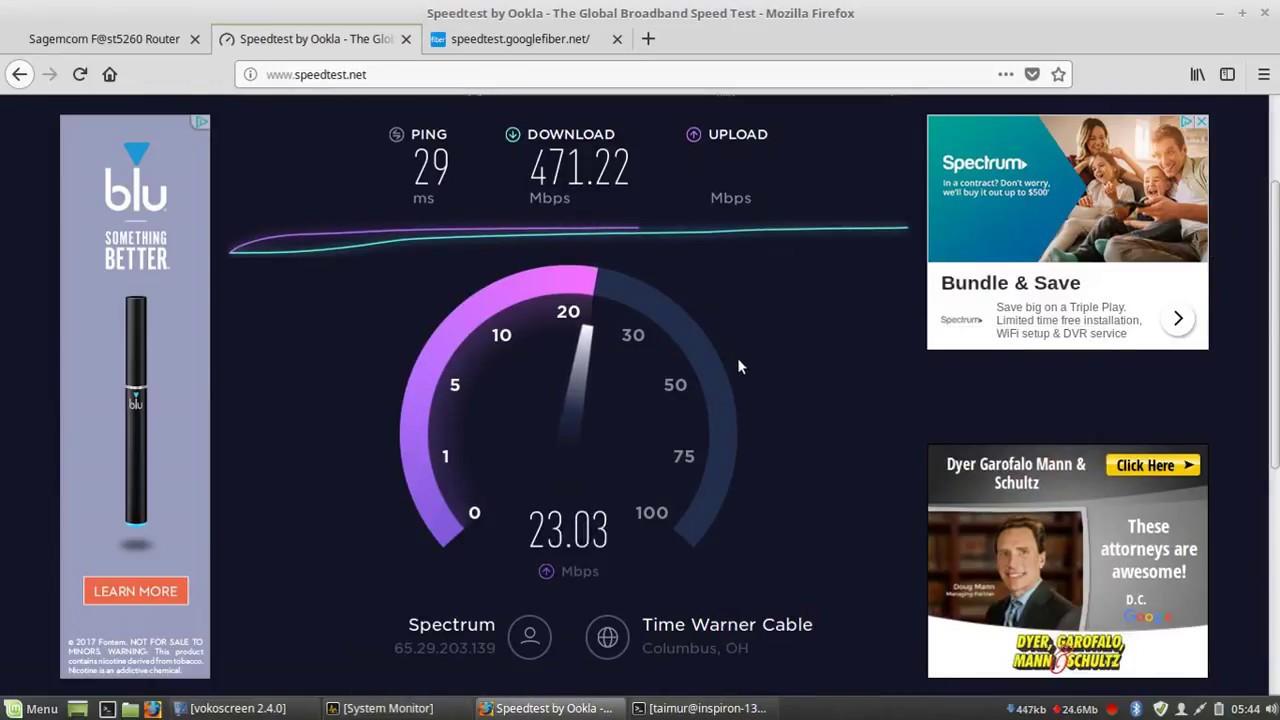 Spectrum Ultra 400Mbit Internet Speedtest - YouTube