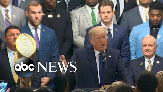 trump-honors-lsu-football-team-jokes-impeachment-abc-news