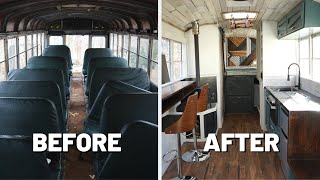 8 Month Build Time Lapse School Bus To Tiny House | Start To Finish | Amateur Couple