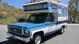 1974 Chevy Custom Deluxe 20 C20 Camper Special Slide In Rv 1 Owner Low Mile
