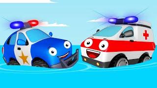 Voiture de Police et Aventure en mer - Dessin animé pour bébés - Rapide et Drôle Voitures