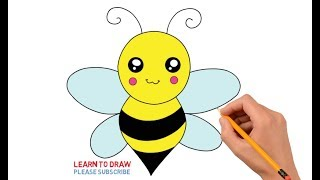 How To Draw a Cute Honey Bee Step By Step Easy For Kids
