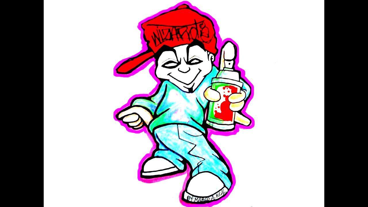 Como Dibujar Caricaturas Para Ninos -Speed Drawing Graffiti Character #12