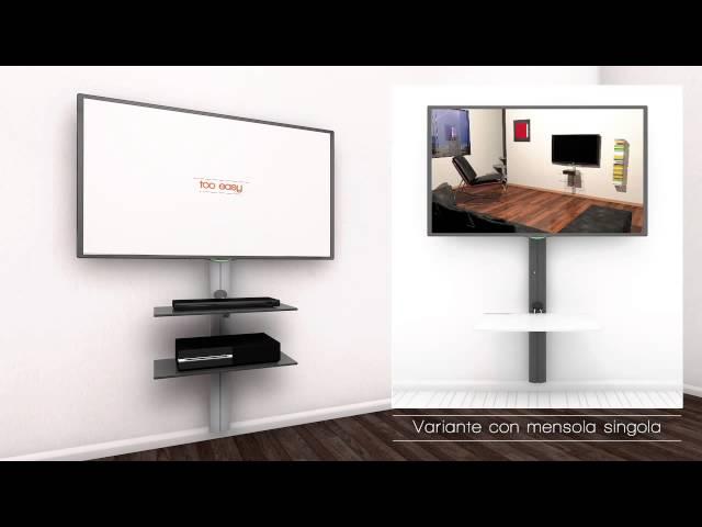 Supporto Tv Design.Sustenia Supporto Tv Con Mensole Youtube