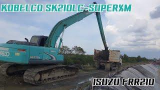 รถขุด KOBELCO SK210LC-SUPERXM ลอกคลองตักเลนใส่ ISUZU FRR210 EXCAVATOR AND TRUCK