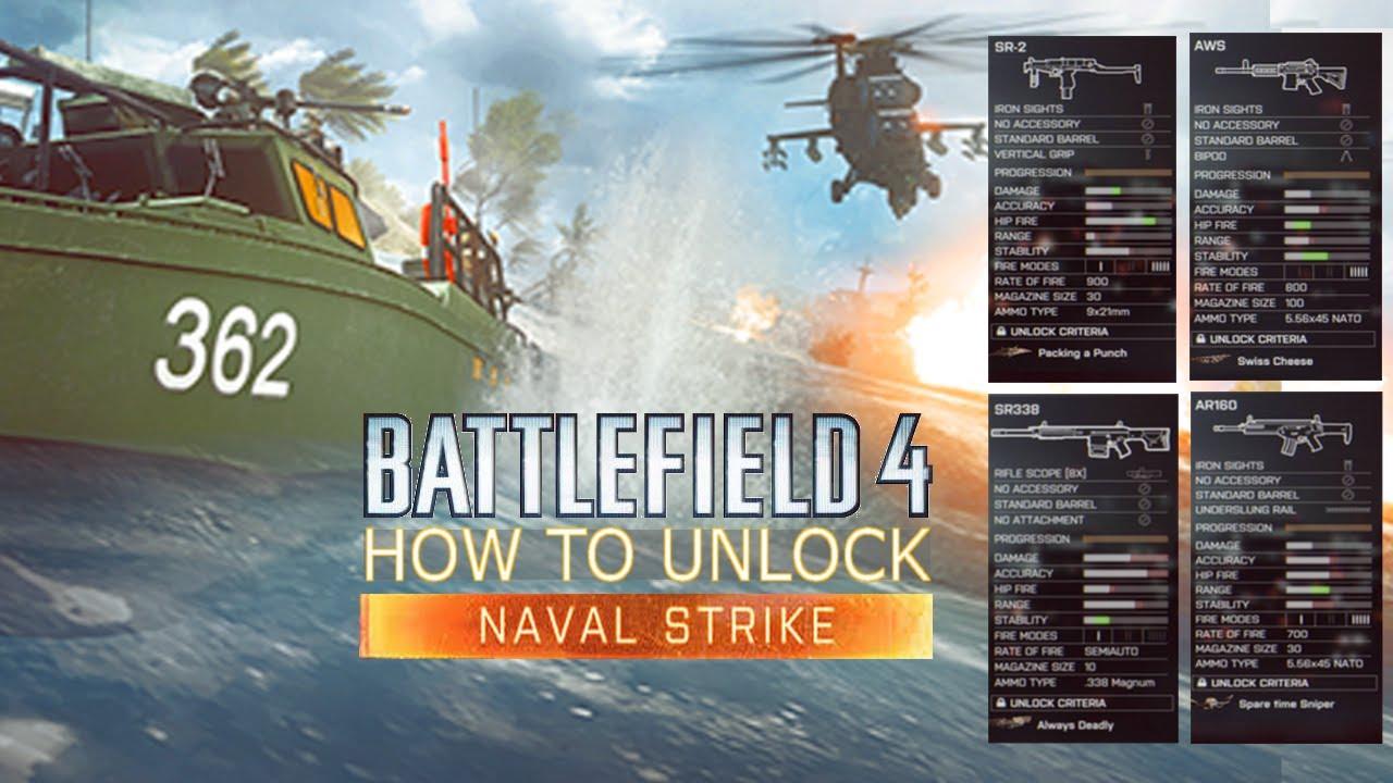 Unlock ALL BF4 Naval Strike Weapons! - SR338, AWS, AR160, SW40 & SR-2  (Battlefield 4 News)