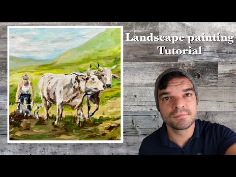 Easy realistic landscape painting techniques for beginners oil paint or acrylics – demo and tutorial