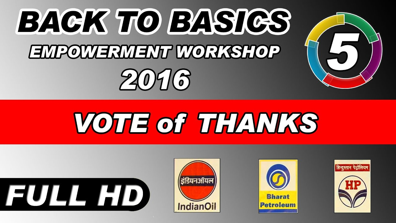 VOTE of THANKS at EMPOWERMENT WORKSHOP of PETROLEUM DEALERS - 2016 | by PDAL | Part 5th.