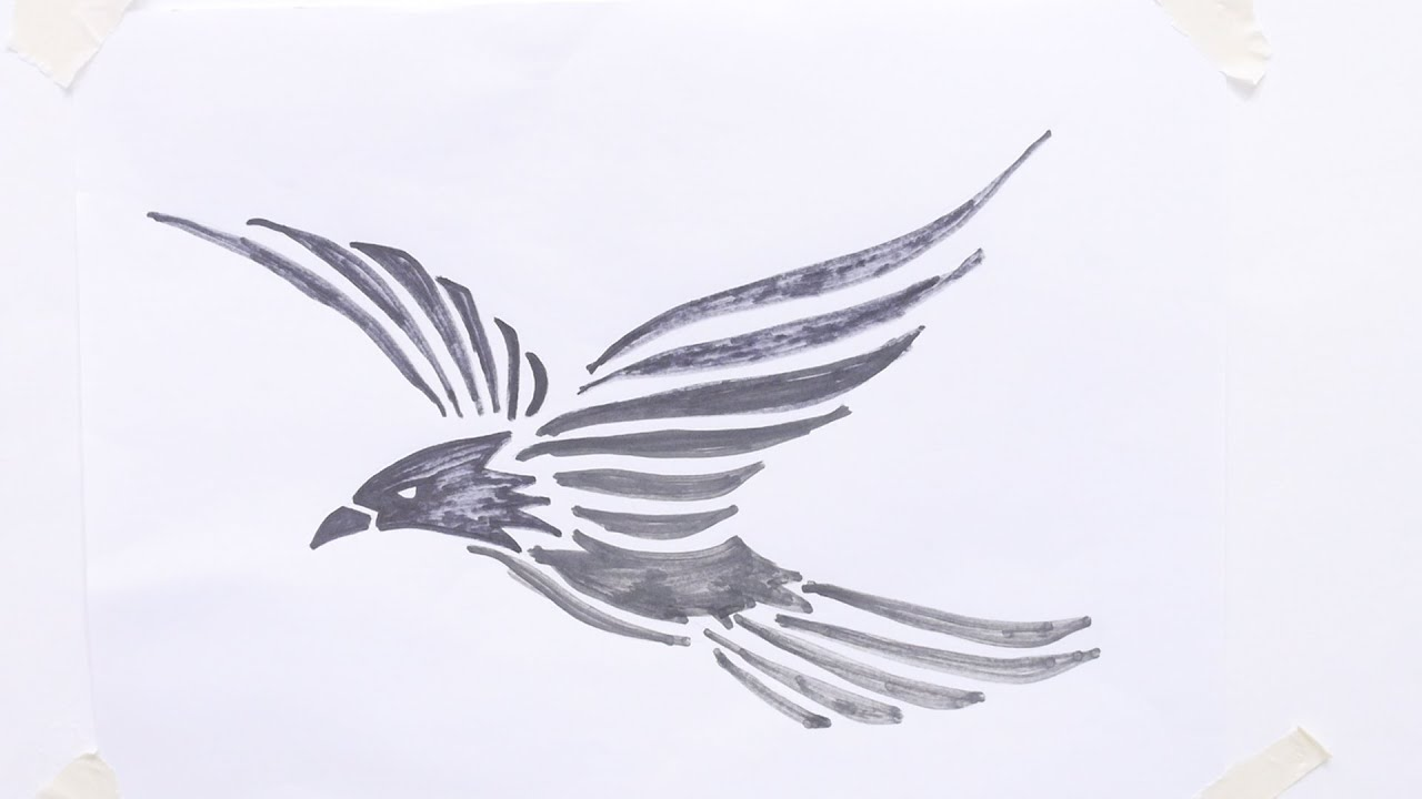 How To Draw Flying Bird Tribal Tattoo - YouTube